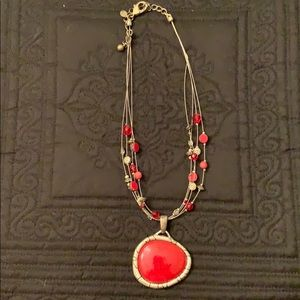 Chico's red and silver necklace